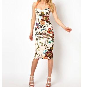 Ted Baker natural amabel floral midi dress